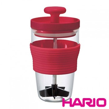 【HARIO】紅色便利手動打果汁器300ml HDJ-L-R