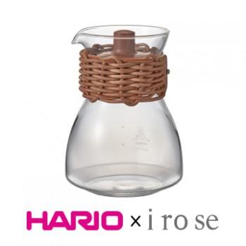 【HARIO x i ro se】棕色皮革藤編茶壺450ml TCF-3-LZN