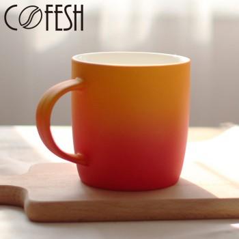 COFESH 時尚半手作橘紅雙色漸層馬克杯350ml MUG-35-GR