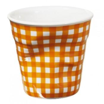 法國 REVOL FRO 橘格紋 陶瓷皺折杯 80cc