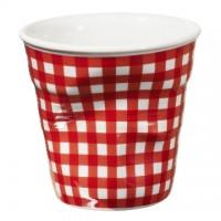 法國 REVOL FRO 紅格紋 陶瓷皺折杯 80cc