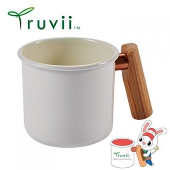Truvii 月光白木柄琺瑯杯 400ml