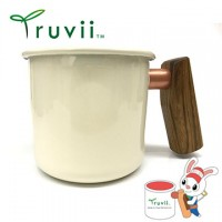 Truvii 月光白黃連木柄琺瑯杯 400ml