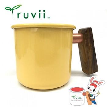 Truvii 奶油黃黃連木柄琺瑯杯 400ml