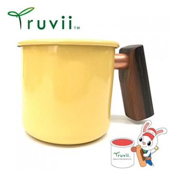 Truvii 奶油黃黑檀木柄琺瑯杯 400ml