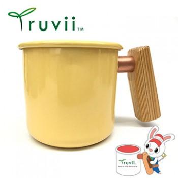Truvii 奶油黃檜木柄琺瑯杯 400ml