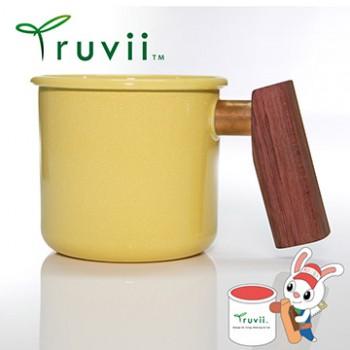 Truvii 奶油黃紫心木柄琺瑯杯 400ml