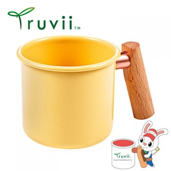 Truvii 奶油黃木柄琺瑯杯 250ml