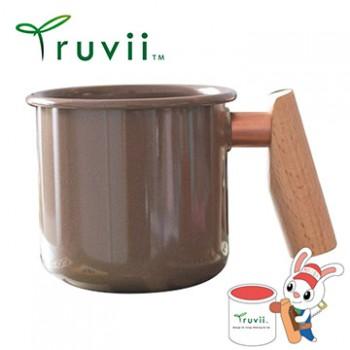 Truvii 可可色木柄琺瑯杯 400ml